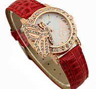 Women's Shinning Design With Butterfly Pattern PU Band Analog Quartz Wrist Fashion Watch