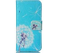 design de mode Coco Fun® bleu motif de fond de pissenlit pu corps de cas complète portefeuille en cuir flip pour iPhone 5 / 5s