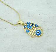 18K Golden Plated Hamsa Hand Of Fatima Evil Eye Crystal Hollow Out Pendant