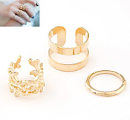 European Style Fashion Metal Blade Joint Three-piece Ring Set