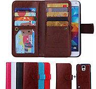 PU Leather Special Design Full Body Cases Detachable 9 Card Wallet For Galaxy S6/S6 edge/S5/S4(Assorted Color)