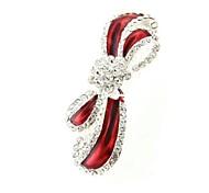 White Red Bow Rhinestone Crystal Hair Barrette Clip Lady 3.55