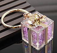 Crystal Gift Box Shape Key Chain Ring Bag Decoration Organizer Holder for Wedding Gift Lover