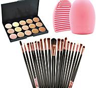 Pro 20pcs Brushes Set Powder Foundation Eyeshadow Eyeliner Lip Brush Tool+15Colors Concealer+1PCS Brush Cleaning Tool