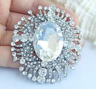 Wedding 2.36 Inch Silver-tone Clear Rhinestone Crystal Flower Bridal Brooch Pendant Wedding Deco