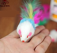FUN OF PETS® Lovely Plush Mouse Shaped Colourful Feather Tail Decorated Chewing Toy for Pet Dogs Cats(Random Colour)