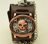mode-rundförmigen echtem Leder anti alten Schädel Flip Uhr (schwarz, braun) (1pc)