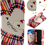 Colorful Pencil Pattern with Card Bag Full Body Case for iPhone 5C