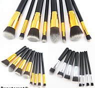 8PCS Golden&Silver Tube Black Handle Cosmetic Makeup Brush Set(2 Color to Choose)