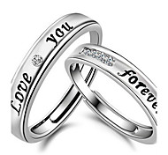 2PCS Couples' Love You Forever Silver Ring  Sterling Silver Jewelry