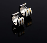 Fashion New  Outside Three  Silver   Scrub  Double Color  Hoop Earrings Wedding/Party/Daily/Casual 2pcs