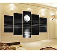 abstrato cinza bloco seascape pintura a óleo lua pintados à mão em lona 5pcs / set sem moldura