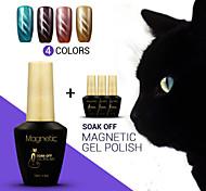 Azure 4Pcs/Lot  Cat Eyes Soak Off UV Gel Magnetic UV Gel Polish Nail Polish for Nail Art (#63+#64+#65+#66)