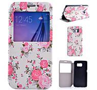 patrón de flor blanca de la PU de la caja del teléfono de cuero para Samsung Galaxy S4 / S5 / S6 / s4 Mini / Mini s5