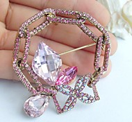 2.17 Inch Gold-tone Pink Rhinestone Crystal Spiderweb Flower Brooch Pendant Art Decorations
