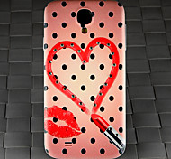 Drill and Black Spots Lipstick Heart Pattern PC Back Cover Case for Samsung Galaxy S4/9500