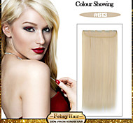 5 Clips Long Straight Bleach Blonde (#613) Synthetic Hair Clip In Hair Extensions For Ladies