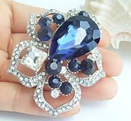 2.36 Inch Silver-tone Ink Blue Rhinestone Crystal Flower Brooch Pendant Art Decorations