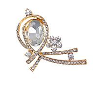 Fashion Factory Price Elegant Botique Gold Rhinestone Glass Flower Brooches fow Women