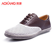 Aokang Men's Shoes Outdoor/Athletic/Casual Leather Fashion Sneakers Black/Brown