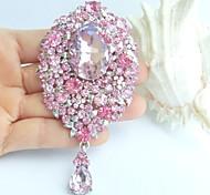 3.94 Inch Silver-tone Pink Rhinestone Crystal Drop Flower Brooch Pendant Art Decorations