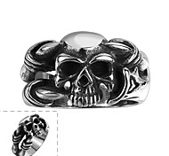 Maya Individual Generous Simple Parallel Bars Skull Stainless Steel Man Ring(Black)(1Pcs)