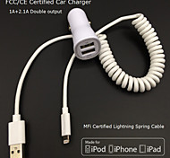 FCC CE certified Car Charger 1A/2.1A Double output+Apple MFi Certified Lightning Spring cable For iPhone 6 iPhone5 iPad