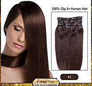 clip in hair extensions dark brown (color 2#)