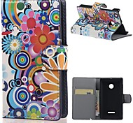 Colorized Flowers Wallet Leather With Card Slots Flip Cover Case For Microsoft  Nokia Lumia 435 mobile Phone Cases bags
