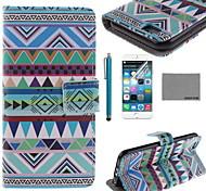 caso corpo Coco fun® padrão triângulo tribo couro pu completo com filme e cabo usb e stylus para iphone 6 6g