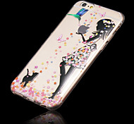 Flower Girl Pattern TPU Relief Thin Transparent  All Inclusive Back Cover Case for iPhone 6/6S