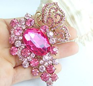 2.95 Inch Gold-tone Pink Rhinestone Crystal Butterfly Flower Brooch Pendant Art Decorations