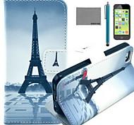 Coco fun® padrão torre guarda-chuva vermelho de couro pu caso de corpo inteiro com o filme e cabo usb e stylus para iphone 5c