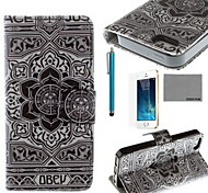 grigio stelle modello pu custodia in pelle cocco fun® con la protezione dello schermo e il cavo usb e lo stilo per iPhone 5 / 5s