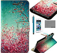 COCO FUN® Sky Red Floral Pattern PU Leather Case with Screen Protector and USB Cable and Stylus for iPhone 6/6S