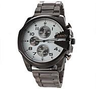 reloj de pulsera de cuarzo de banda de acero de plata del caso del diseño de la moda militar de los hombres