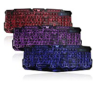 3 Colors USB Illuminated LED Backlit Crack-Pattern Gaming Keyboard for Windows 8/7/Vista/98/XP/2000/ME