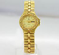 Women's Calender Analog Copper Case Round Dial Copper Band Japanese Quartz Watch Women Business Watch Ladies Watch