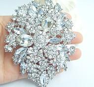 Wedding 4.13 Inch Silver-tone Clear Rhinestone Crystal Flower Brooch Pendant Bridesmaid Jewelry