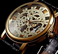 Men's Semi-Mechanical Manual Winding Gold Skeleton Watch PU Leather Strap