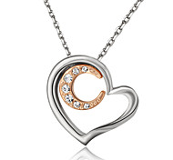 T&C Women's Lovely Jewelry 18k White Gold Plated Clear Crystal Heart and Gold Moon Pendant Necklace