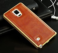 For Samsung Galaxy Case Plating Case Back Cover Case Solid Color Genuine Leather Samsung A7 / A5 / A3