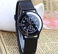 Men's Simple Style Round Dial Black Rubber Band Quartz Wrist Watch Cool Watch Unique Watch