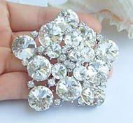 Wedding 2.36 Inch Silver-tone Clear Rhinestone Crystal Flower Bridal Brooch