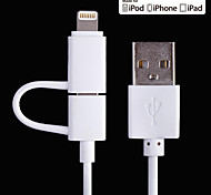 MFi Certified 2-in-1 8pin Lightning + Micro USB to USB Data / Charging Cable for iPhone 6/ 6S and Samsung S6 (100cm)