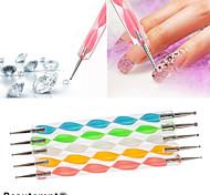 1PCS 2-way 2-end Dotting Marbleizing Pen Nail Art Tool Multi-color(13cm Length,Random Color)