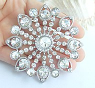 2.76 Inch Silver-tone Clear Rhinestone Crystal Bridal Brooch Pendant Wedding Decorations