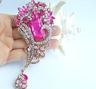 4.72 Inch Gold-tone Pink Rhinestone Crystal Flower Brooch Pendant Art Decorations