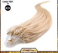 "1pc/lot 22"" Ash Blonde(#24) 100S Micro Loop Remy Human Hair Extensions many colors in stock"