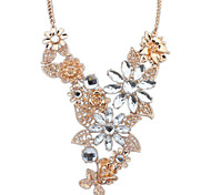 Fashion Colorful Crystal Handmade Flower Party Necklace